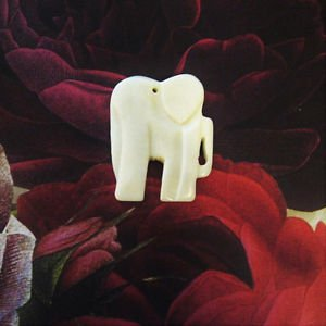 Bone Elephant Focal Bead, Hand Carved White, 47mm