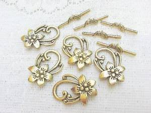 Pewter Flower Toggle Clasp, 30mm, 1 pack, 2 Gold Plated Toggles.