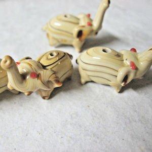 Lampwork Glass Elephant Beads, Tan Brown, 30mm 6 Beads