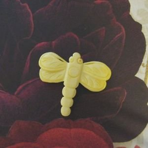 Bone Dragonfly Focal Bead, Hand Carved, 40mm Pale Yellow