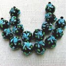 Round Black Lampwork Glass Beads with Aqua Flower, 6 beads 12mm