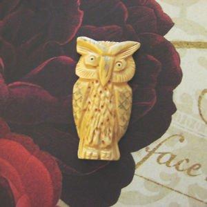 Bone Owl Focal Bead, Hand Carved Pendant, 60mm