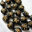 Lentil Lampwork Glass Beads, Black with Peach, 5 beads 18mm