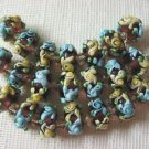 Lampwork Glass Rondelle Beads Purple, Aqua, Yellow Flower 15mm, 7 Lampwork Beads