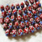 Lampwork Glass Rondelle Beads Red With Pink, Blue Flower 15mm, 8 beads