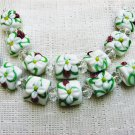 Square Flat Lampwork Glass Beads, White with Pink, Yellow, 7 Beads, 15mm