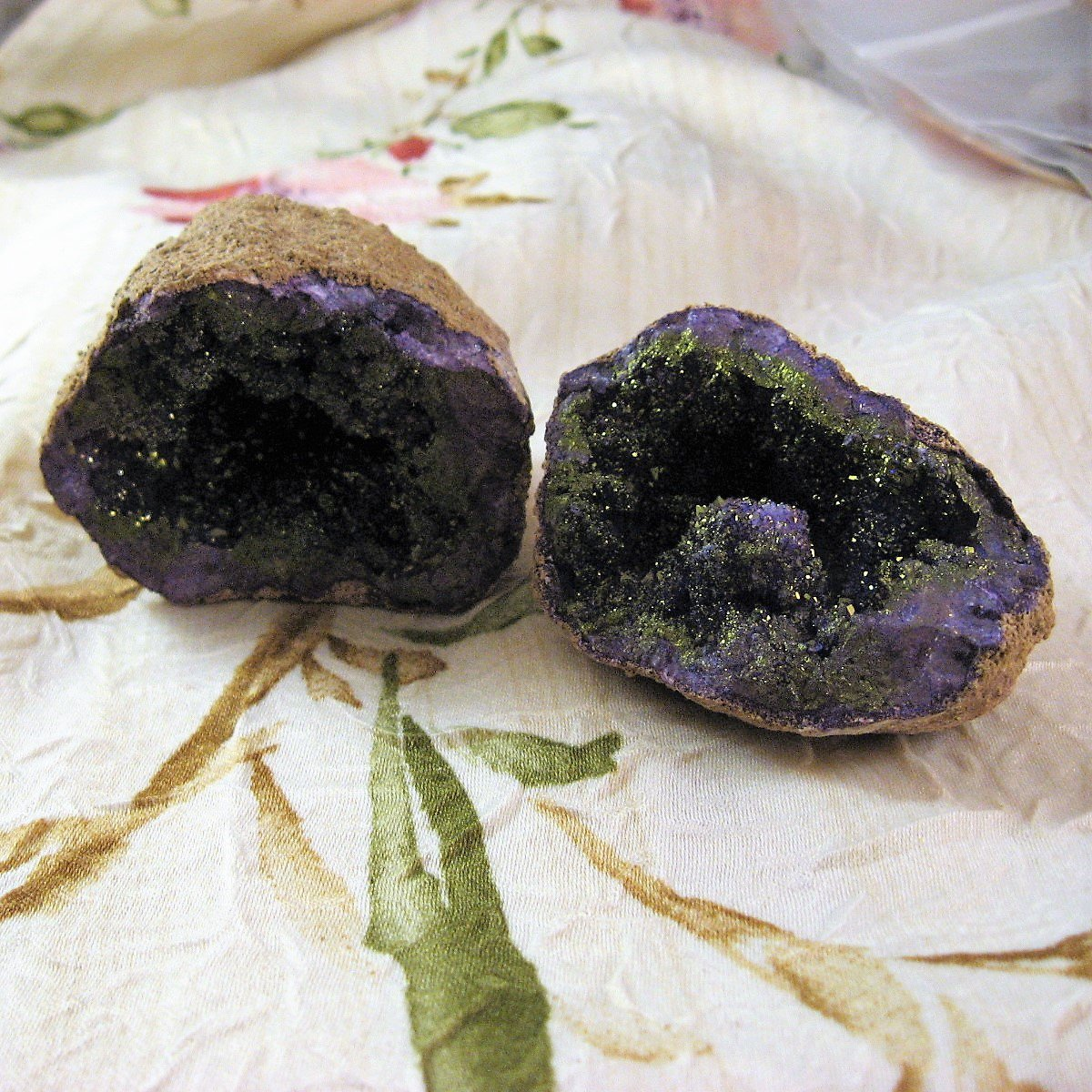 Purple Calcite with Pyrite Crystal Geode from Peru, 3.50 Inches