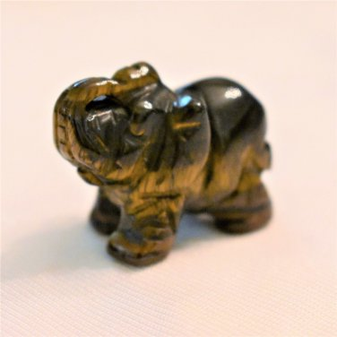 Carved Tigers Eye Elephant, Hand Crafted, Stone