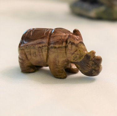 Carved Picture Jasper Rhinoceros, Hand Crafted, 2.25 Inches