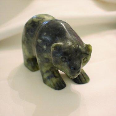 Hand Crafted Dark Green Jadite Nephrite Jade Bear, Handcarved, 3.75 Inches