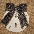 Sand Dollar Ornament With Black and Silver Glittered Bow