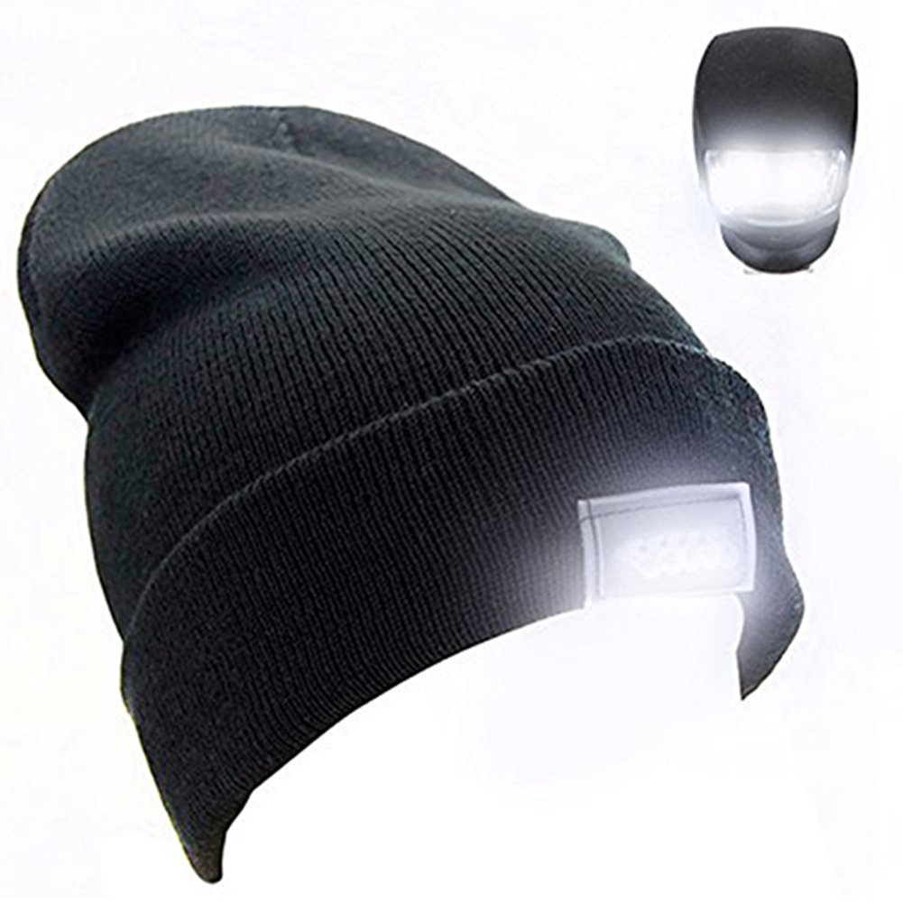TOQUE/BEANIE With 5 LED lights - BLACK