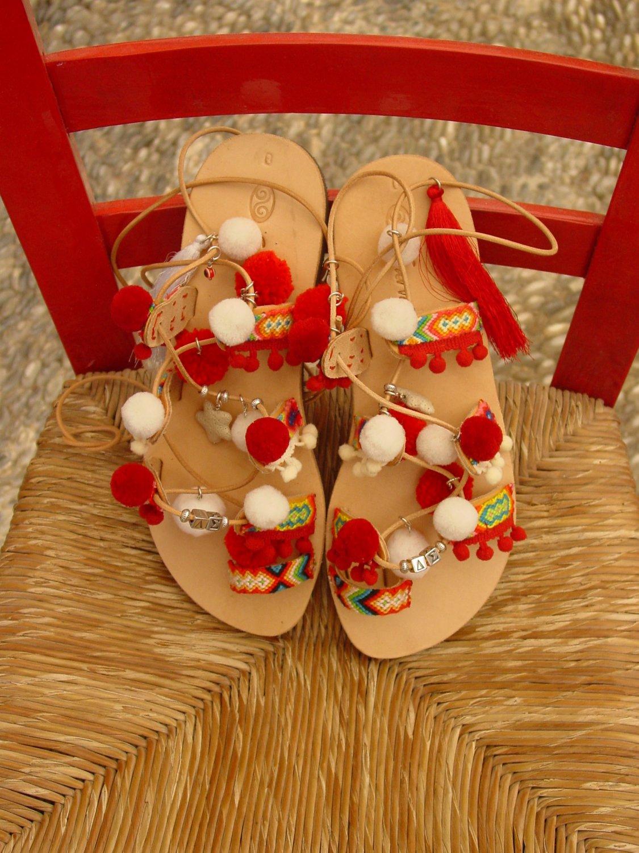 Handmade Ladies Delta Sigma Letters Greek Leather Pom Sandals Friendship Bracelets Boho Gladiator