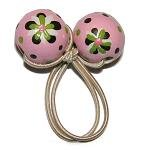 Handpainted Pink, Green  & Brown Retro Flowers Pony Tail Holder