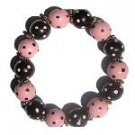 Handpainted Trendy Pink & Brown Dots Adult Stretch Bracelet