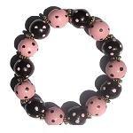 Handpainted Trendy Pink & Brown Dots Adult Stretch Bracelet