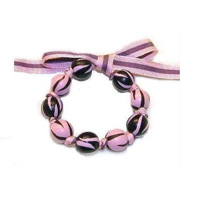Handpainted Pink & Brown Zebra Bow Bracelet