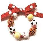 Handpainted Sports Fanatic Tennis Soccer Baseball Bow Bracelet