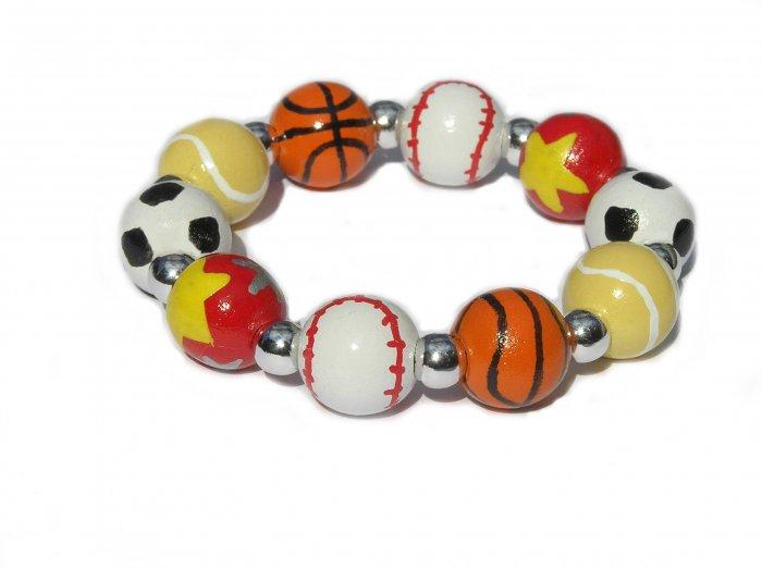 Sports Fanatic Handpainted Stretch Bracelet