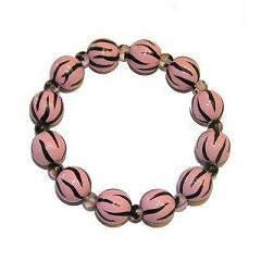 Handpainted Pink Twisted Zebra Adult Stretch Bracelet