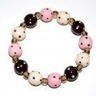 Handpainted Pink Cream & Brown Adult Stretch Bracelet