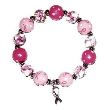 Handpainted Pink Ribbon Breast Cancer Awareness Adult Stretch Bracelet