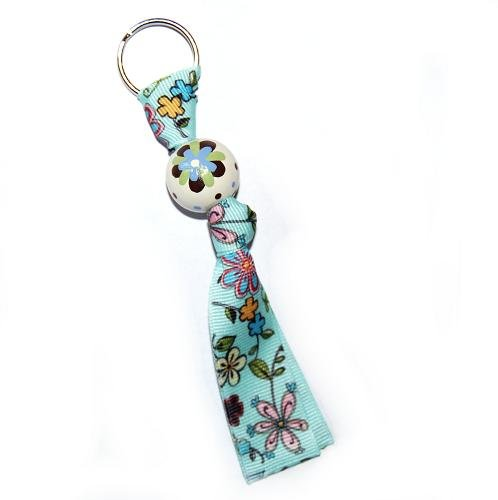 Blue and Brown Retro Flower Keychain Clip