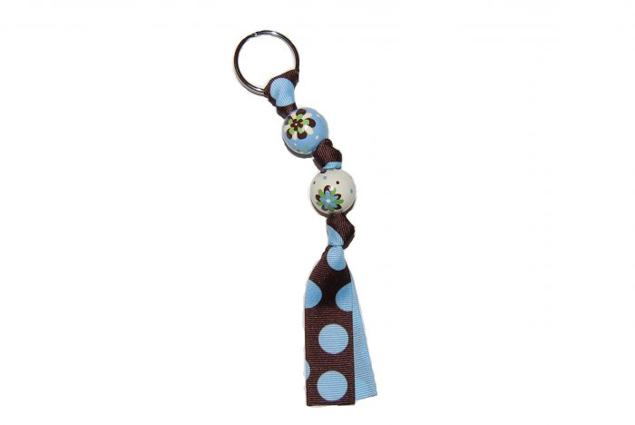 Handpainted Retro Brown & Blue Flower Keychain