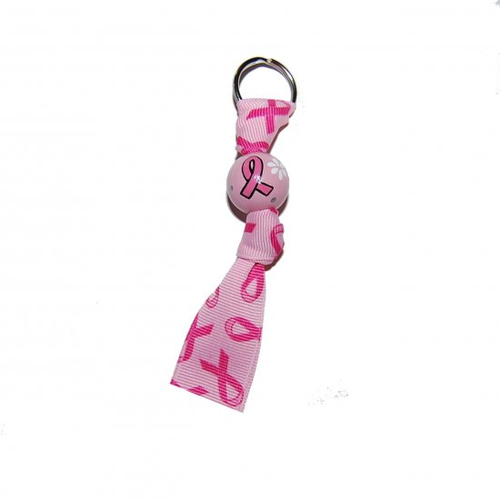 Peace , Love, Cancer Awareness Handpainted Keychain Clip