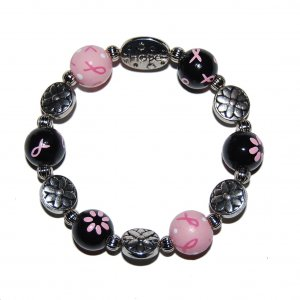 Handpainted Pink & Black Ribbon Breast Cancer Awareness Stretch Bracelet