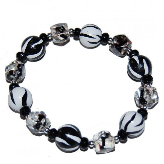 Handpainted Zebra Adult Stretch Bracelet Black and White Combo