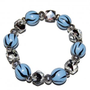 Handpainted Animal Print Blue Zebra Adult Stretch Bracelet