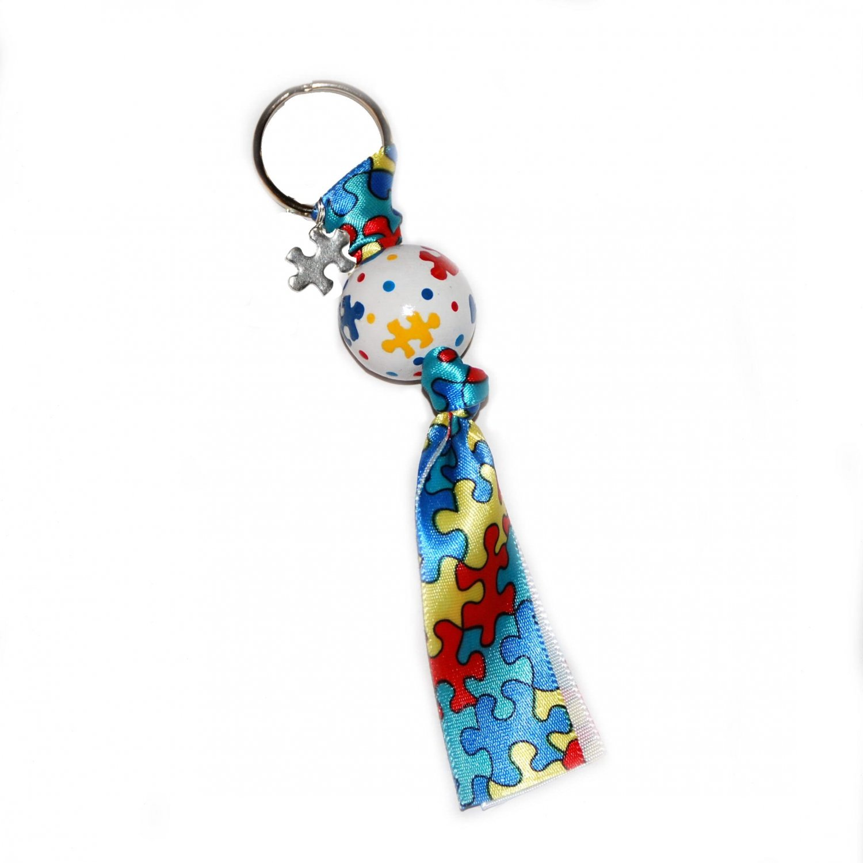 Handpainted Autism Awareness Clip Keychain