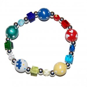 *New*- Hand-painted Autism Awareness Adult Stretch Bracelet