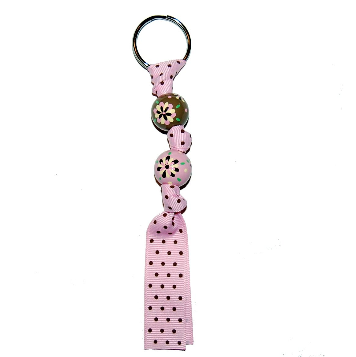 Handpainted Retro Brown & Pink Flower Grosgrain Ribbon Keychain