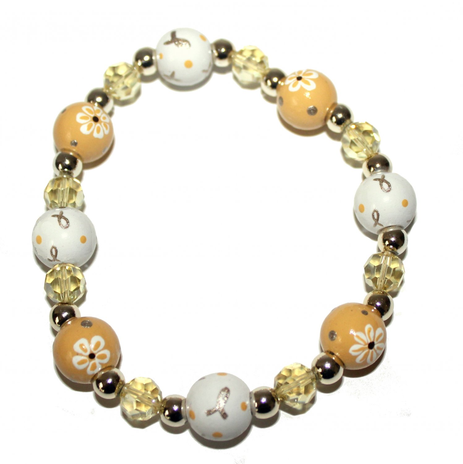 *New*- Hand-Painted Pediatric Cancer Awareness Adult Stretch Bracelet