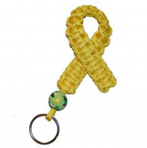 Hand-Painted Troops Support Awareness Paracord Keychain