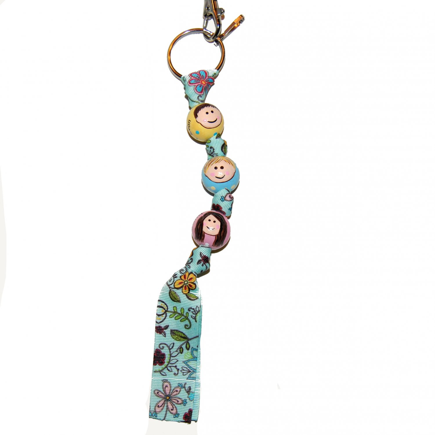 Personalized Children Faces - 3 Bead Handpainted Grosgrain Ribbon Keychain-Special Order