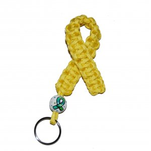 Hand-Painted Yellow Ribbon Troops Support Paracord Keychain