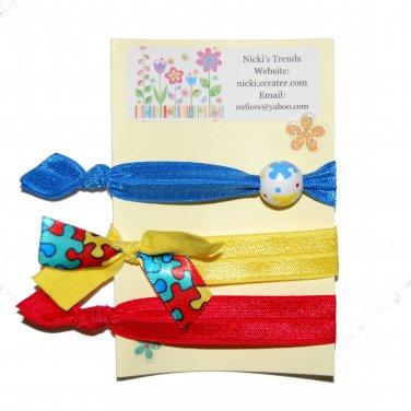 Handpainted Autism Awareness Foldover Elastic FOE Hair Tie Bracelets - Set of 3
