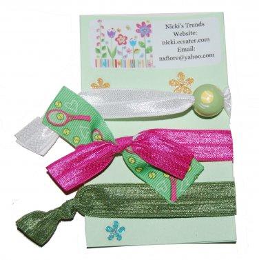 Handpainted Tennis Foldover Elastic FOE Hair Tie Bracelets - Set of 3