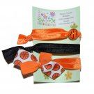 Handpainted Basketball Foldover Elastic FOE Hair Tie Bracelets - Set of 3