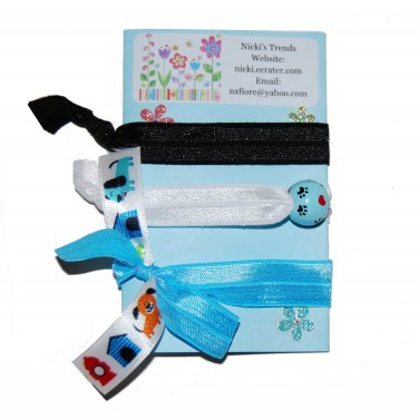 Handpainted Puppy Paw Prints Foldover Elastic FOE Hair Tie Bracelets - Set of 3
