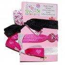 Handpainted Breast Cancer Awareness Foldover Elastic FOE Hair Tie Bracelets - Set of 3