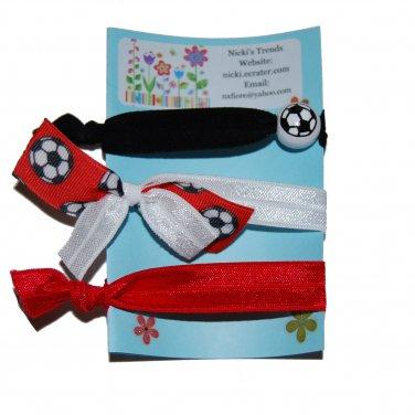 Handpainted Soccer Foldover Elastic FOE Hair Tie Bracelets - Set of 3