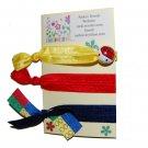 Handpainted Building Blocks Foldover Elastic FOE Hair Tie Bracelets - Set of 3