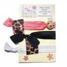 Handpainted Leopard Print Foldover Elastic FOE Hair Tie Bracelets - Set of 3
