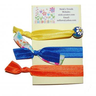 Handpainted Spring Daisy Flower Foldover Elastic FOE Hair Tie Bracelets - Set of 3