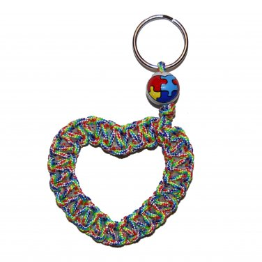 Hand-Painted Autism Awareness Puzzle Heart Shaped Paracord Keychain