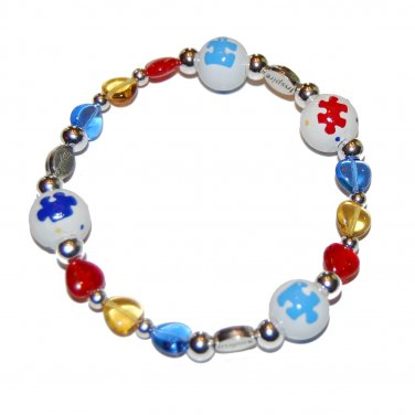 Hand-painted Autism Awareness Inspire Adult Stretch Bracelet